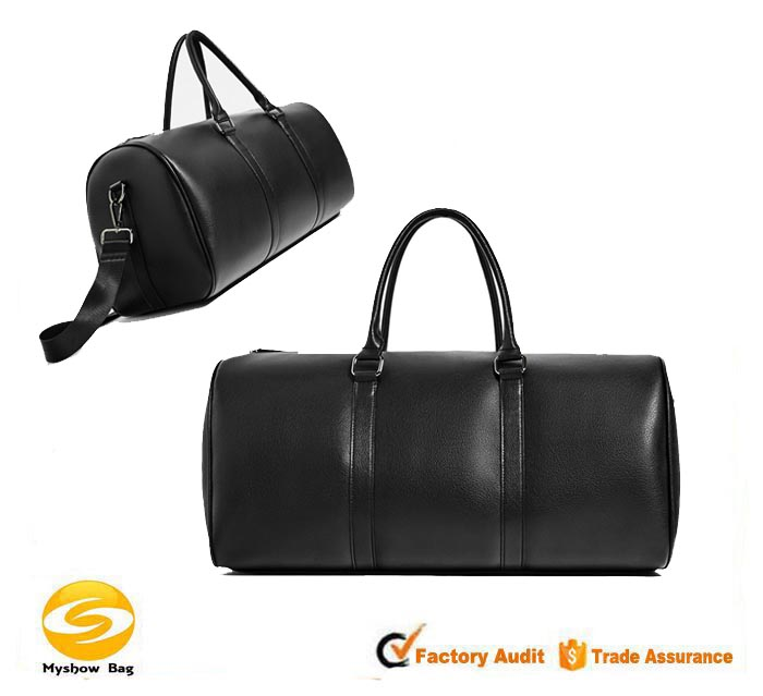 Expandable Weekend Overnight Travel Duffel Bag Black Top Grain Leather,Mens Leather Overnight Bag