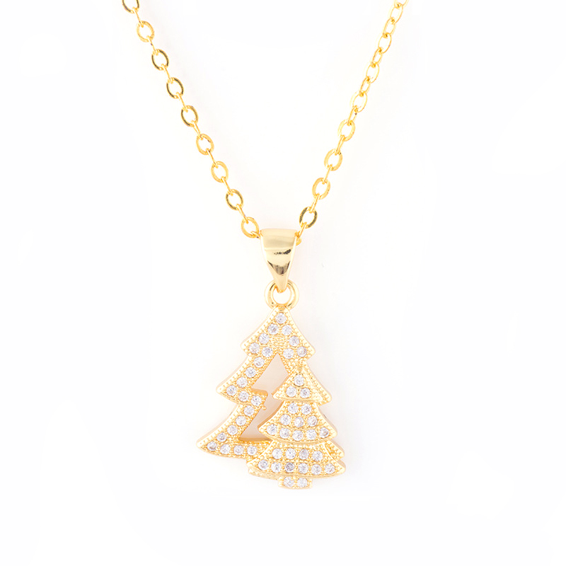 XL0237 JN wholesale classic rose gold plated CZ christmas tree charm jewelry necklace women for gift kids necklace