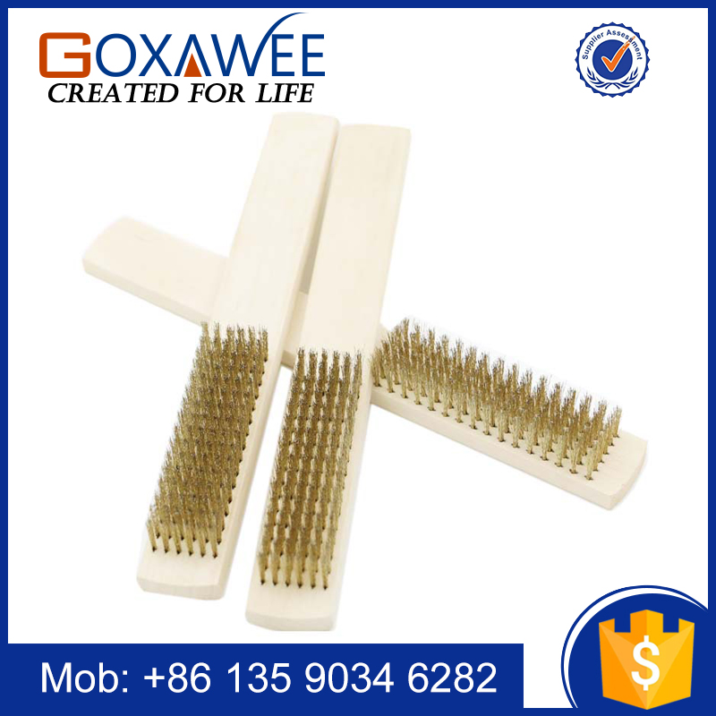 Hand Tool Brass Wire Brush 16 Rows Brass Bristle Wooden Handle Brush For Cleaning and Polishing