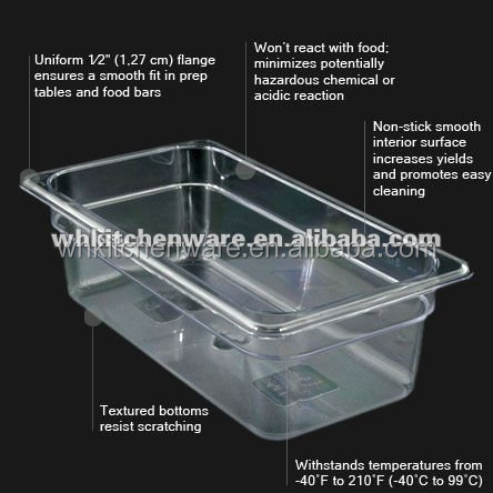 hot sell black and clear PC plastic food containers