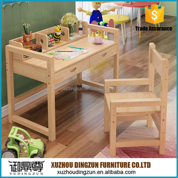 Kids Study Table Set Wooden Kids Desk For Homework Reading And
