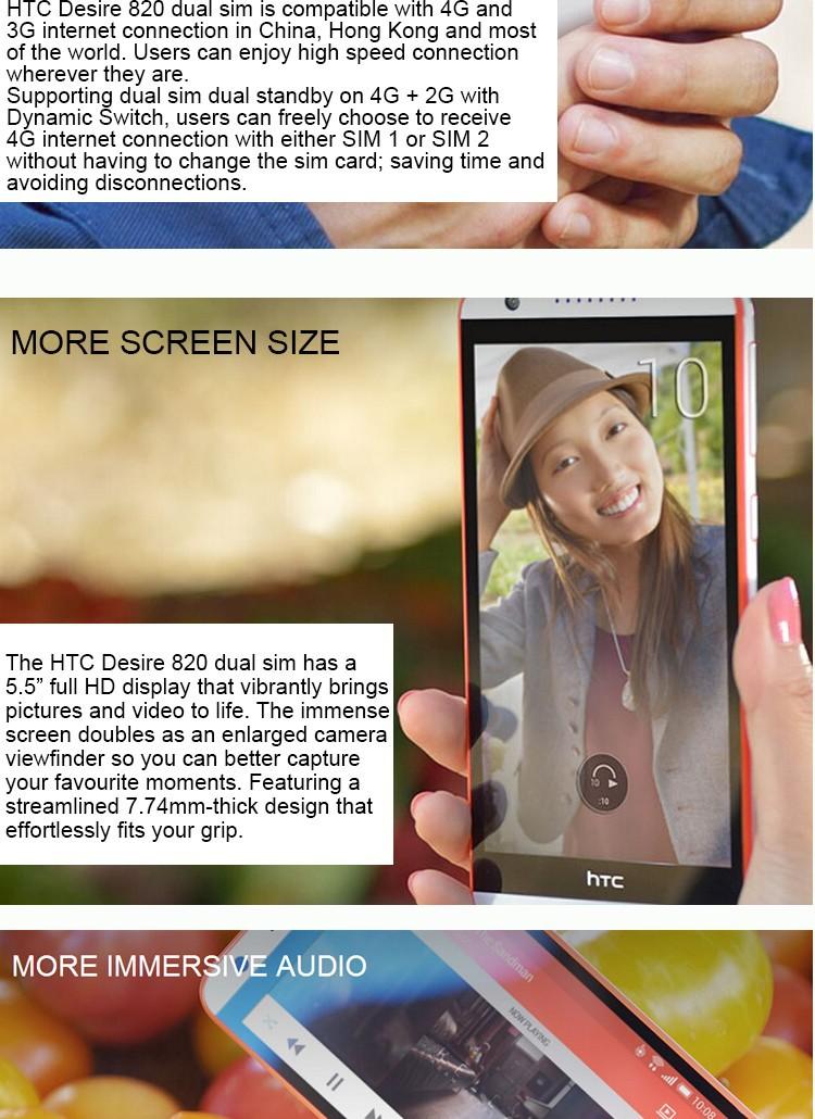 Original HTC Desire 820 HTC D820u double 4G Otca Core 5 5