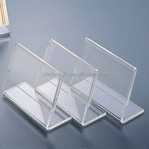 Slant Back Acrylic Business card Holder. Angled Lucite price tag holder, Clear Gift card Stand Photo Frame