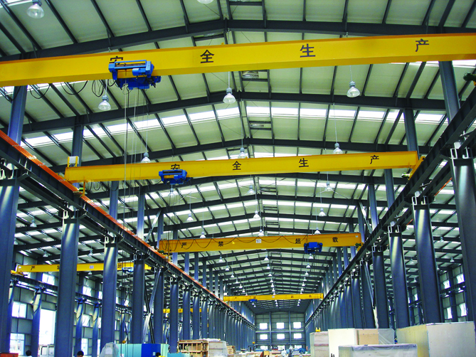 Overhead Cranes Dimensions : Steel structure rail track wheel mounted ton single