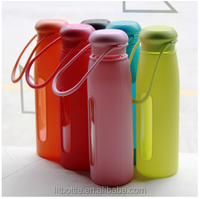 glass drinking tea bottle with removeable silicon cover