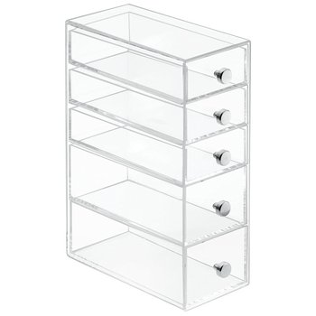 Domestic 5 Removeable Drawers Stationary Organizer Tabletop Use Clear  Acrylic