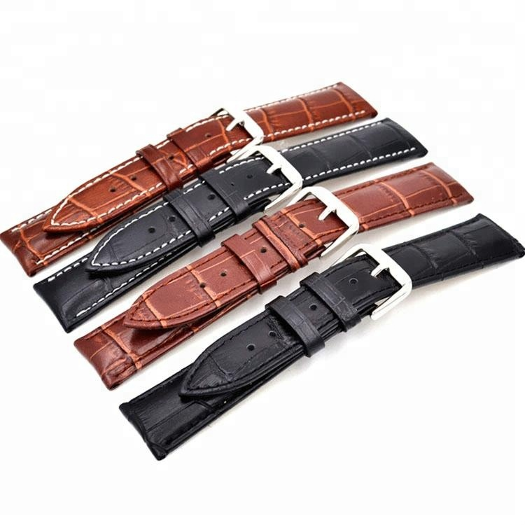 24mm wholesale Cheap price split hide leather watch band strap, Black/brown/custom