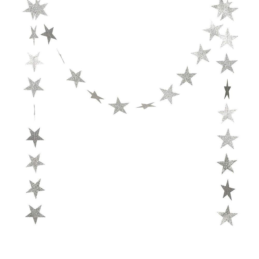 DegGod Sparkling Silver Star Garland, Twinkle Little Paper Five-pointed Star Garland Banner Bunting Hanging Party Table Wall Ceiling Decoration Supplies - Set of 2 (4 Meter each, Silver powder)