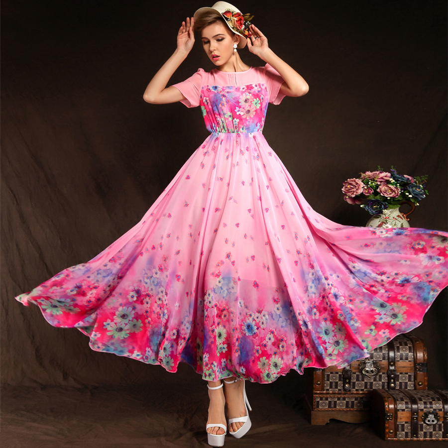 Fashion Women Summer Dress Short Sleeve Ruffle Chiffon ...