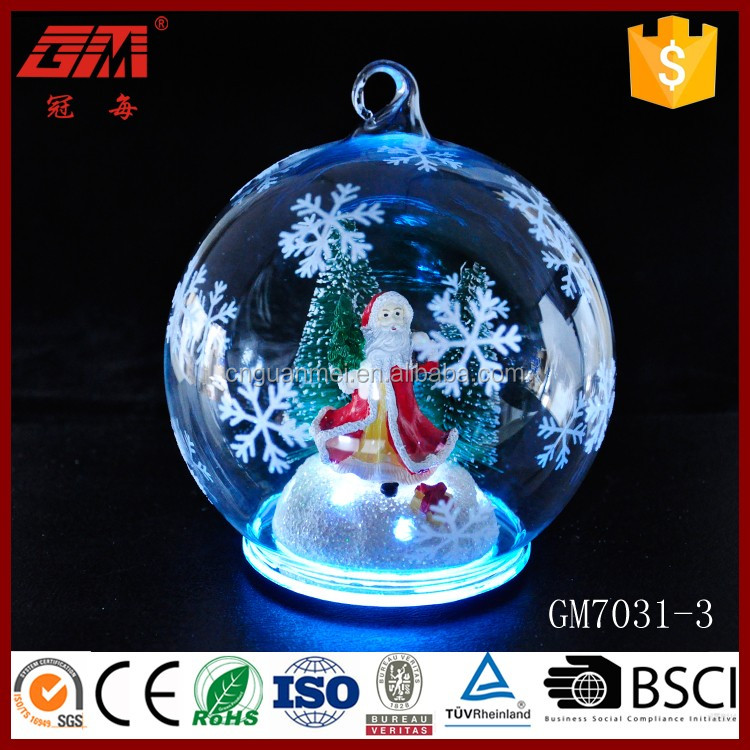 LED ball glass hanging decorations with santa claus inside