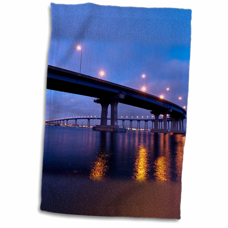 3dRose Danita Delimont - San Diego - California, San Diego, Coronado Bridge curves over San Diego Bay - 12x18 Towel (twl_250632_1)