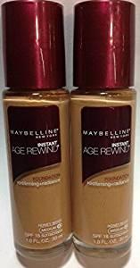 (Pack of 2) Maybelline Instant Age Rewind Foundation Honey Beige (Medium-4) Maroon Color Cap.