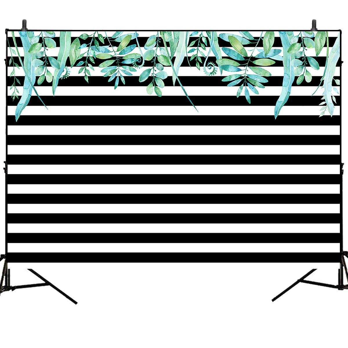 Mehofoto Black and White Stripes Backdrops 7x5ft Green Leaves Photography Backdrops Birthday Party Photo Studio Booth Background