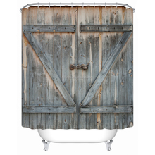 YIGER Rustic Country Barn Wood Door Digital Printing Polyester Shower Curtain with Adjustable Hook