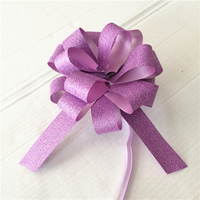Factory personalized gift wrapping glitter pull string pom bows