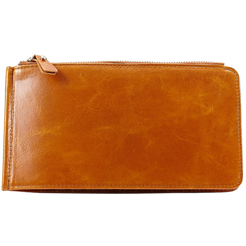 2015 Lady Vintage Oil Wax Genuine Leather Wallets For Women Fashion Zipper Design 100% Cowhide Leather Women Purse 4 Colors