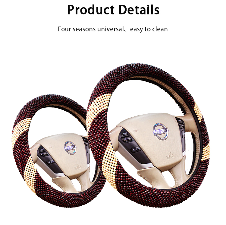FX-MZ-005 car wood cheap wooden bead woodgrain steering wheel cover for truck