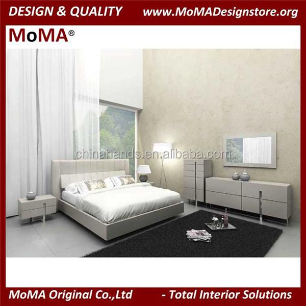 Vintage mobilier de chambre design moderne gris lit double en bois et chambre - Mobilier chambre design ...
