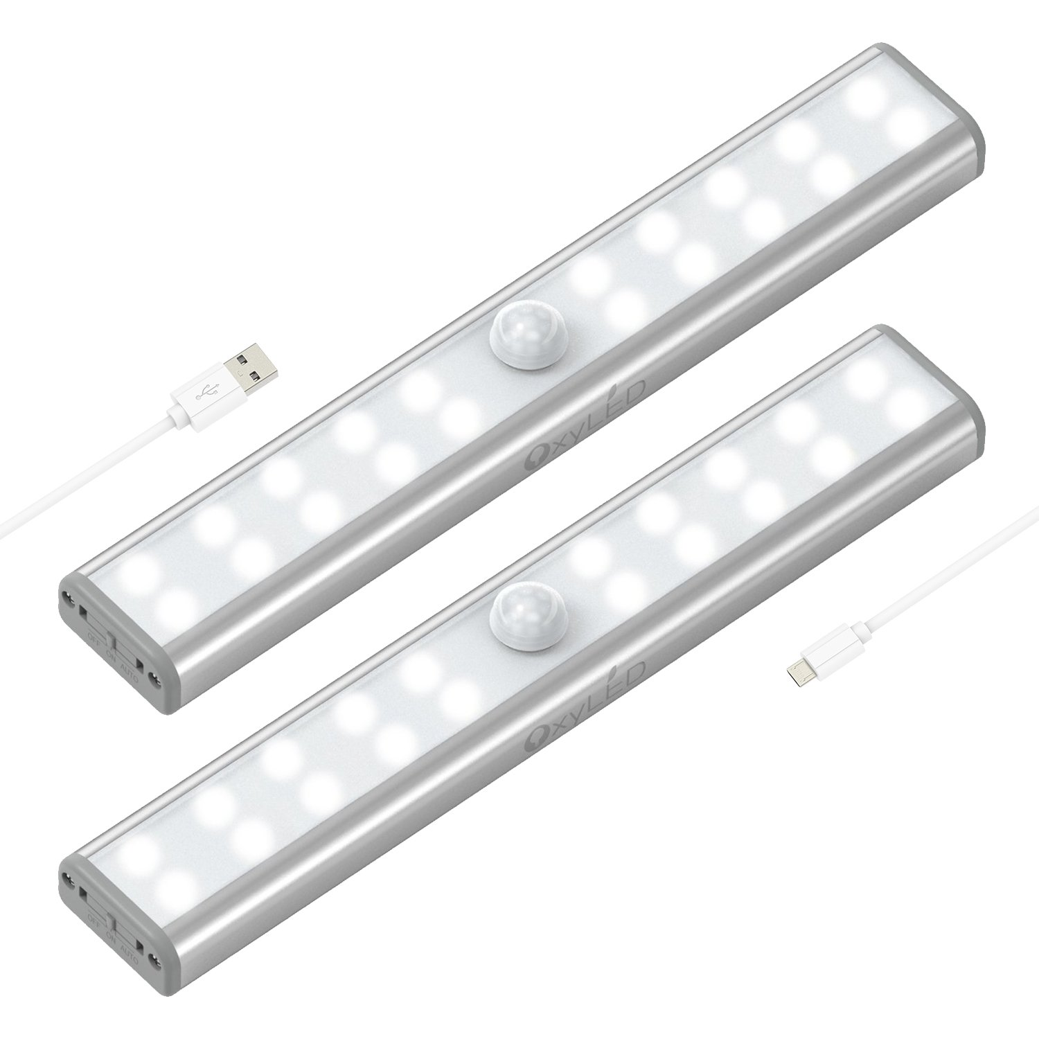 Wardrobe Light, OxyLED Motion Sensor Closet Lights, 20 LED Under-Cabinet Lightening, USB Rechargeable Stick-on Stairs Step Light Bar, LED Night Light, Safe Light with Magnetic Strip, 2-pack, T-02U
