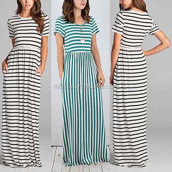 e1fcda7db9d1c Elegant Long Nightgowns Black   White Stripe Short Sleeve Hidden Pockets  Scoop Neck gown dresses evening