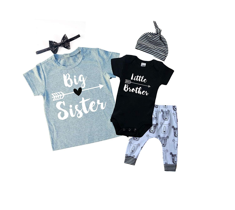Big Sister/Little Brother Set. Matching Big Sister Little Brother Set 0-3Mo Bodysuit & 5T Shirt