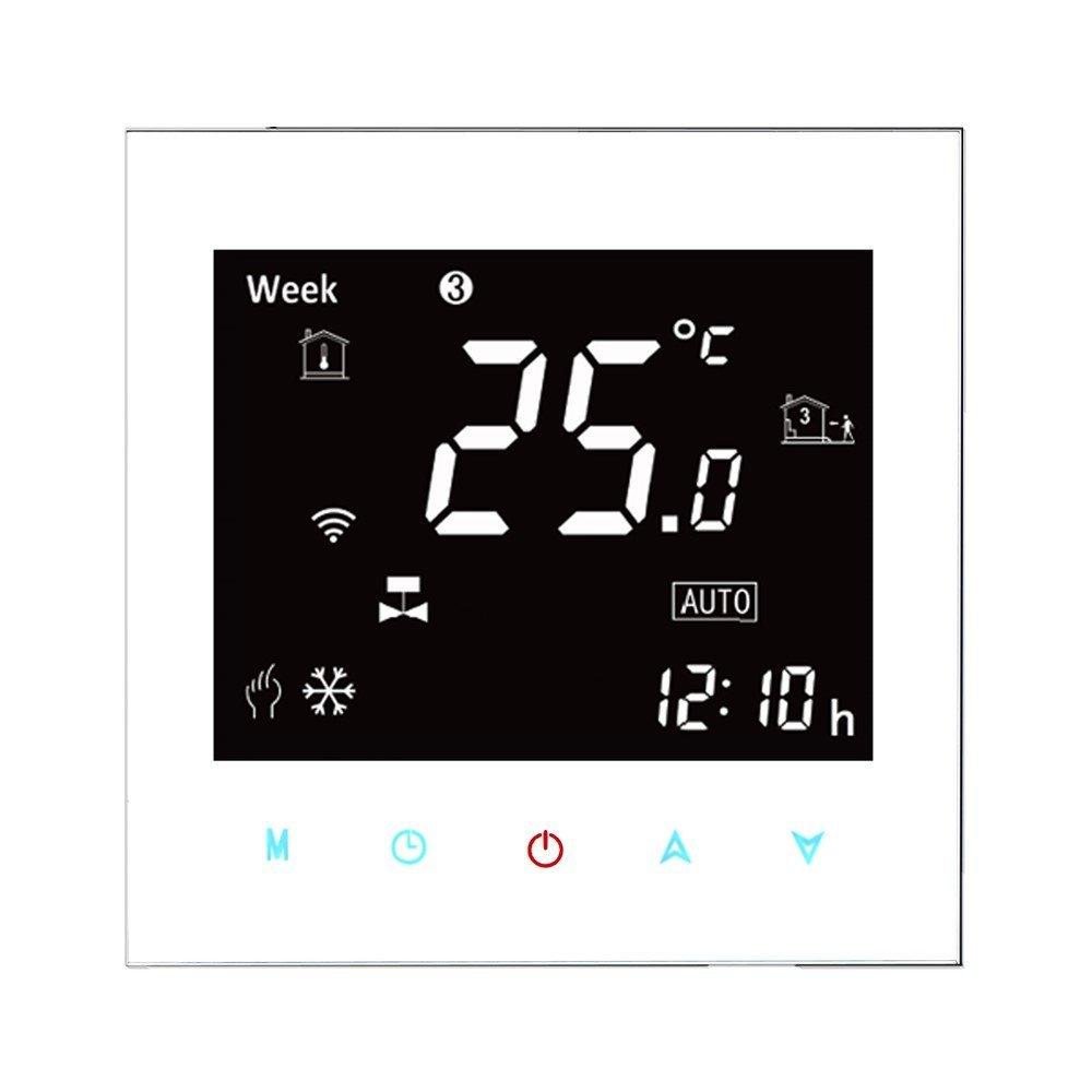 Boiler Thermostat,BECA 95~240VAC Data Memory LCD Digital Touch Screen 5+2 six periods Weekly Programmable 3A Water/Gas Boiler Heating Room Thermostat (White)