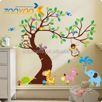 Colorcasa Removable Home Decor Wall Sticker Zy1214 Baby Nursery Animated Tree