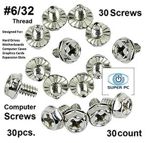 """SUPER PC   Computer Screws 6/32"""" (#6 hole) Hex Phillip's Head with Screws for Computer Case, Hard Drive, Motherboard, or PCI Slot Mounting. (30pcs)"""