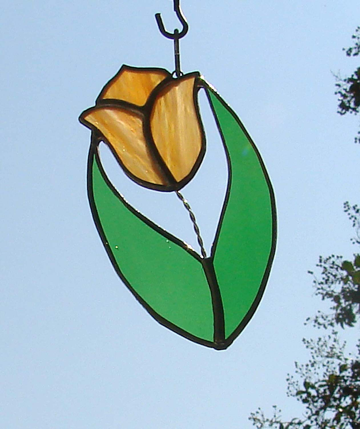 Orange and Yellow Tulip Handmade Stained Glass Flower Sun Catcher Ornament