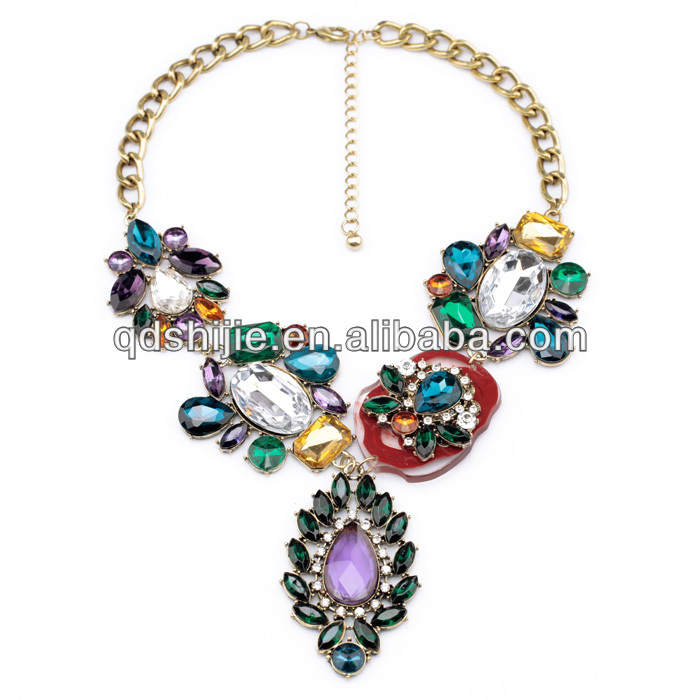 2014 Costume Jewelry Handcraft Luxury India Statement Chunky Necklace