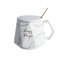 Zogift Personalized polygon shaped drinkware ceramic tea cup unique marble coffee mug with spoon for Mother Day Birthday Gifts