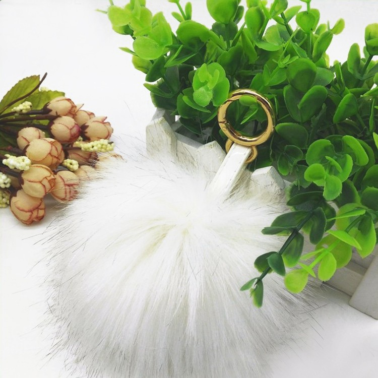 "4.7"" Furry Snow White Faux Fox Fur Pom Pom Keychain Bag Charm"