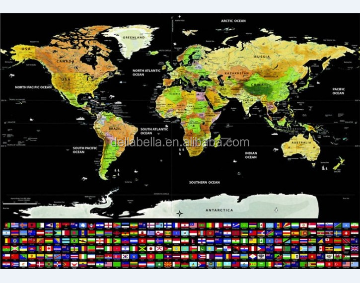 Newest Deluxe Wall World Scratch Poster Travel Map with Country Flags