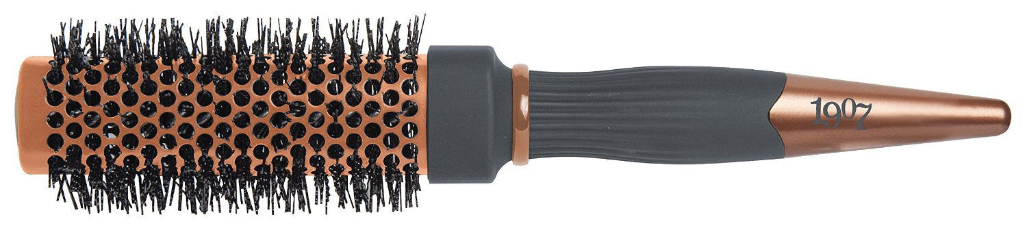 1907 Small (2'') Thermal Square Brush Short-Medium Length Hair #NBB012, Ionic nylon bristles, nylon, bristle, ceramic coated, heat resistant, coated barrel, rippled nylon bristles, bronze, salon, high quality, professional, barber, hair stylist