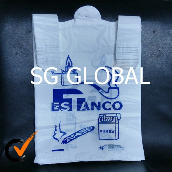 gold china supplier reusable printed t-shirt pe bag for shopping
