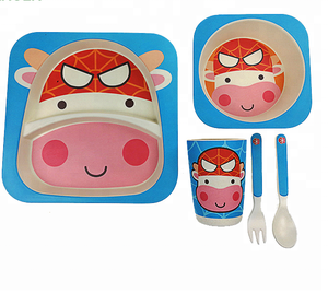 Kids Biodegradable Porcelain Bamboo Children's Tableware Set