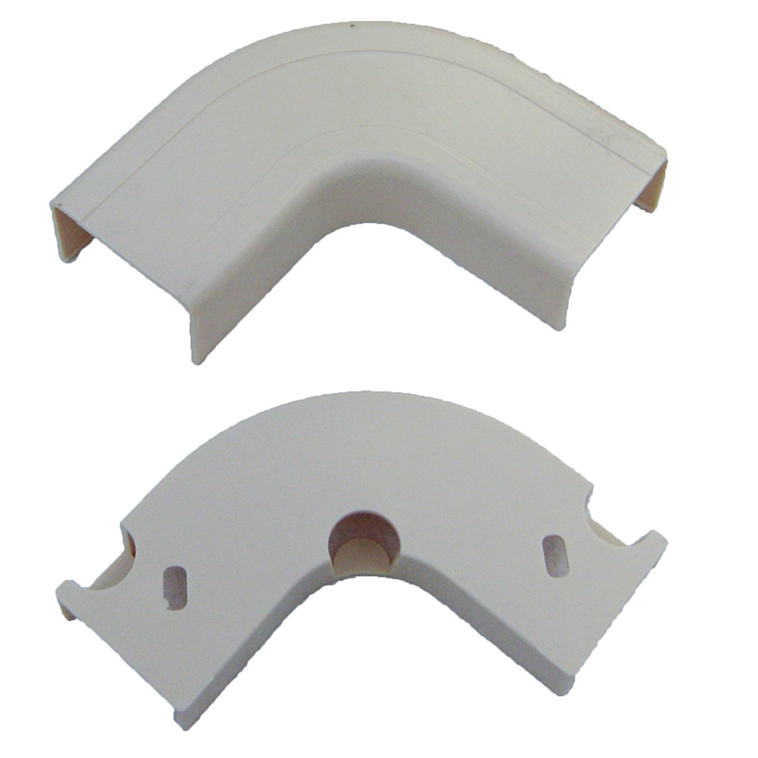 1.25 inch Surface Mount Cable Raceway, White, Flat 90 Degree Elbow