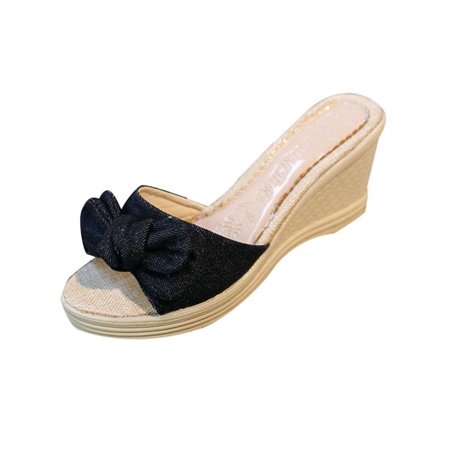 03071a926e88 Get Quotations · Sikye Slippers Open Toe Bowknot Slippers For Women Outdoor  Indoor Hight Wedge Heel Slippers