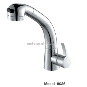 Single hole polished curved water faucet