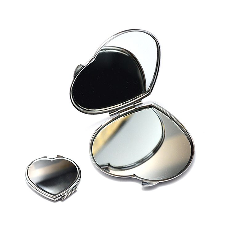 Wholesale customized logo traveling heart shaped handheld stainless steel metal make up mirror