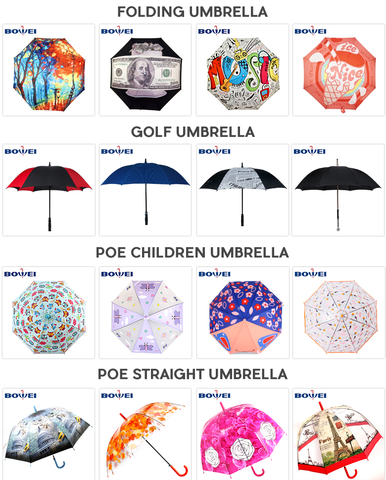 Custom Printed Transparent straight cartoon puppy  tower Umbrella Small Plastic Clear POE Kids Umbrella with J handle