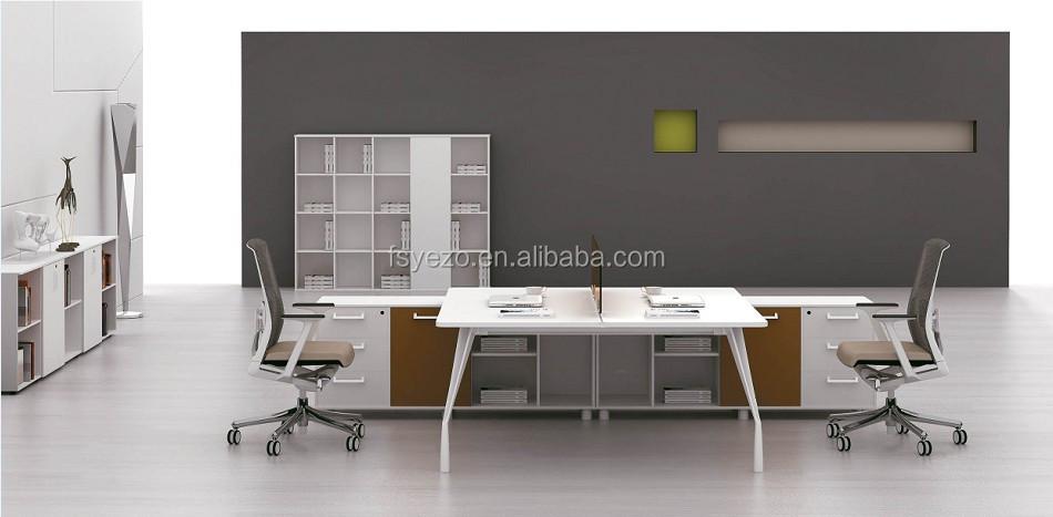 2 asientos lineal estacin diseo modular escritorio ejecutivo con mesa auxiliar en aluminio base - Diseos Modulares