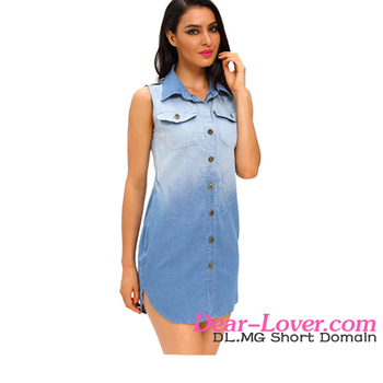9ff1133c594 Wholesale Stylish Button Down Sleeveless Shirt dresses for women denim