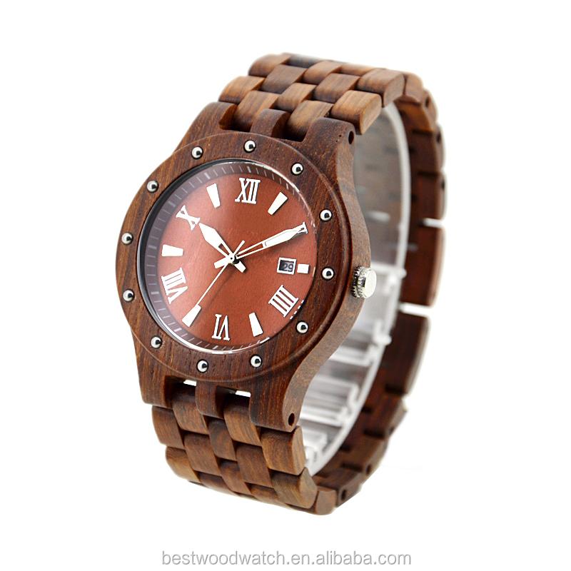 Luxury 2019 Men Quartz Wooden Watches Bezel Japan Movt OEM Custom Chian Watch With Your Own Logo