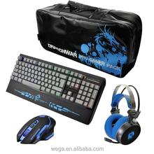 Peripeharals combo set black red blue colors wired gaming mix keyboard mouse combo