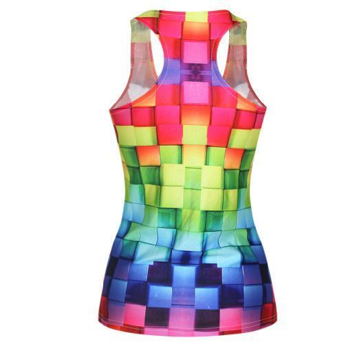 F52 женские футболки свободного покроя девочки тельняшки 3D Colorful жилет верхний печать камзол