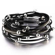 ALLYES Многослойные Кожаные женские браслеты кристалл металлические бусины богемная накидка кожаный браслет женский(Китай)