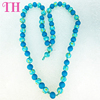 2016 hot sale blue adult long handmade beads necklace for women