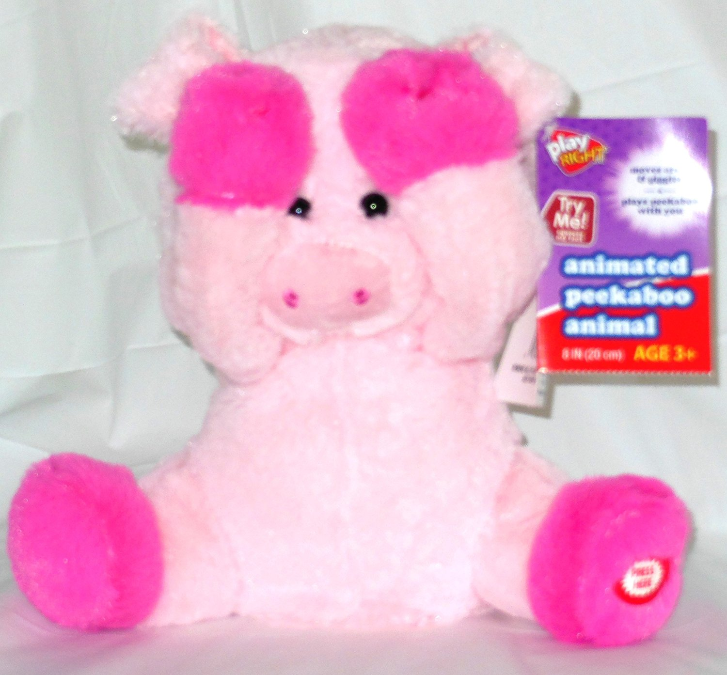 Peekaboo plush animated animal pig plays peekaboo and talks. Children laugh over and over. Great Fun!!!