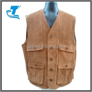 Hottest brown adult out wear waistcoats men breathable leather shooting vest